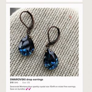 Last pair SWAROVSKI Montana crystal earrings